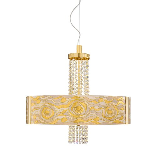 Emozione 6 Light Drum Pendant Kolarz Shade Colour: Champagne