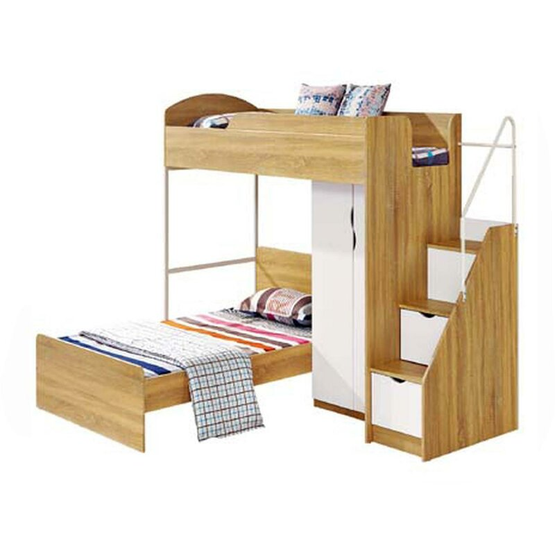 Mcdonald European Single L-Shaped Bunk Bed and Built-In Wardrobe