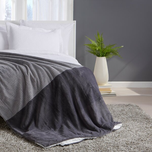 Sale Winter Blankets Grey Teal Froral Super Soft Sherpa 3 Ply Quilt With 2 Shams