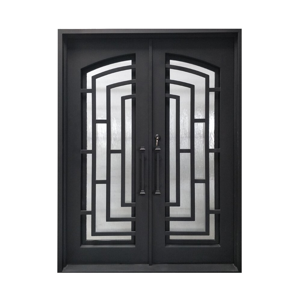 Aleko Square Top Modern Iron Prehung Front Entry Door Wayfair