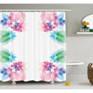 Flower Abstract Petals with Digital Hazy Reflections Bridal Buds Exquisite French Style Pattern Shower Curtain Set