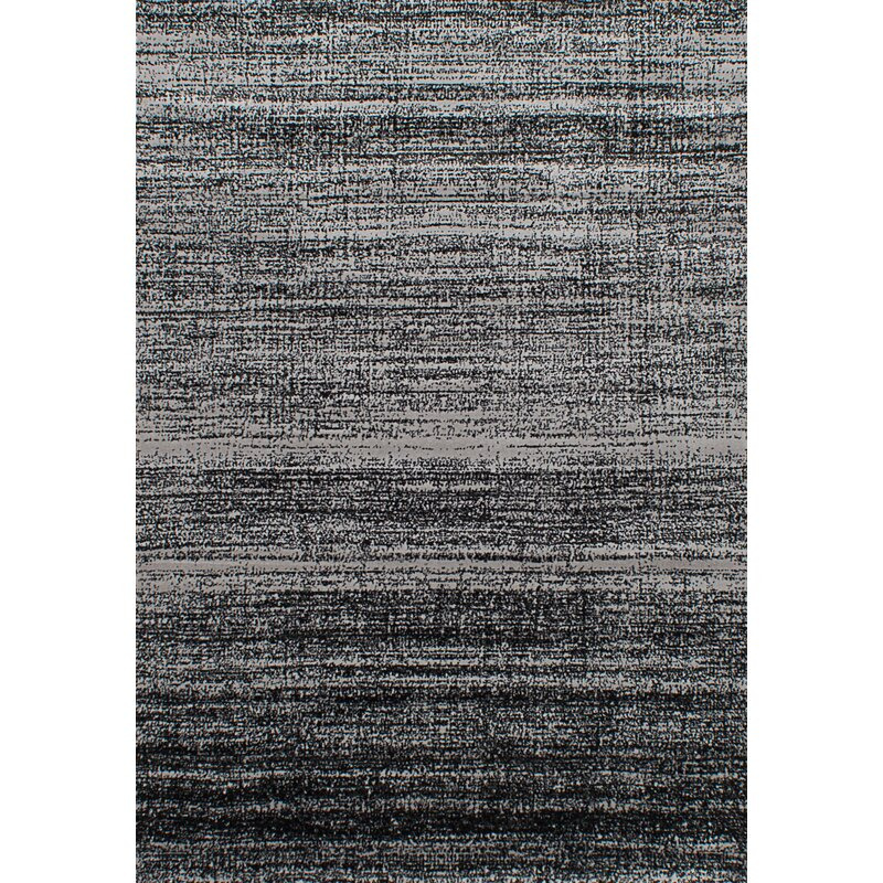 17 Stories Ayaan Power Loom Black Light Gray Rug Wayfair