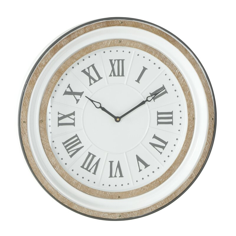 Large Round White Grey Metal And Wood Wall Clock With Roman Numerals 24 X