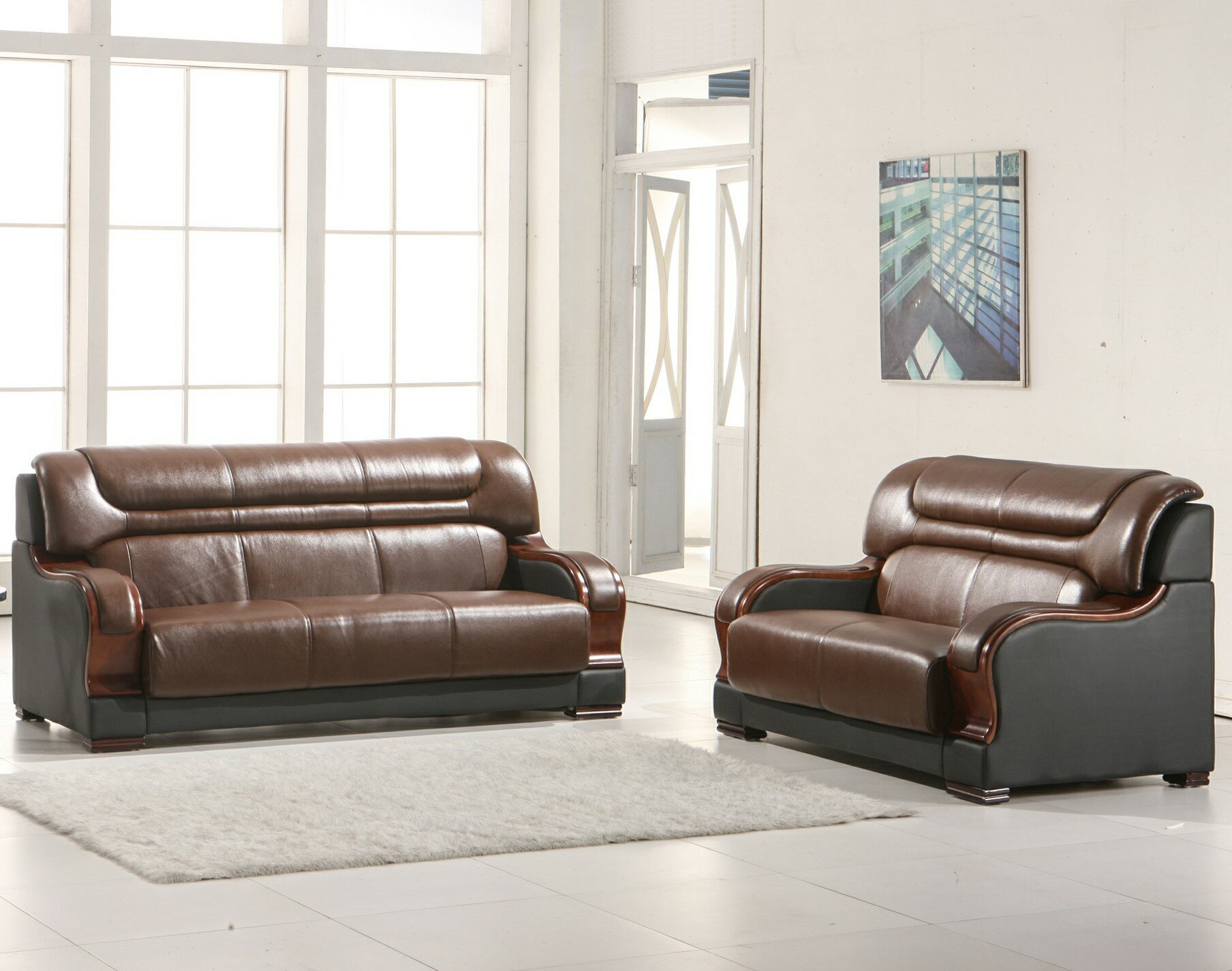 Murphree 2 Piece Leather Living Room Set