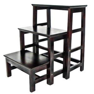 3 Step Wood Retractable Step Stool With 200 Lb. Load Capacity