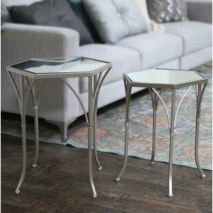 Metal Hexagonal 2 Piece Nesting Tables