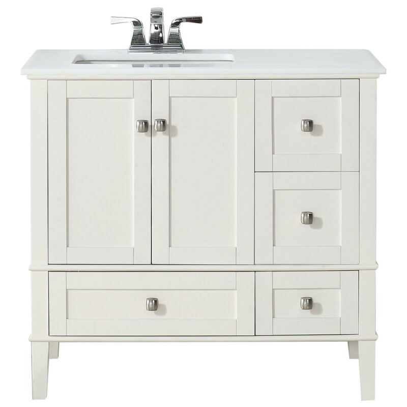 "Bathroom Vanities Set simpli home chelsea 37"" single left offset bath vanity set"