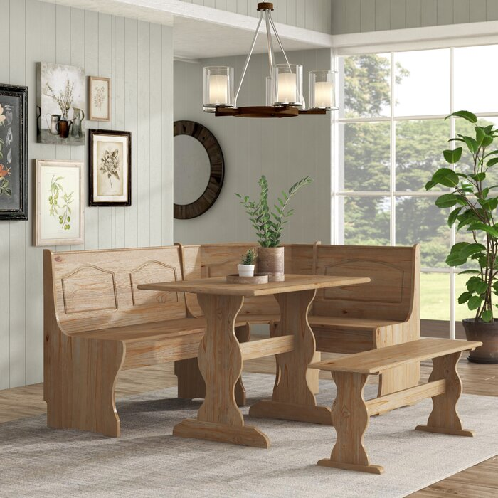 Awe Inspiring Padstow 3 Piece Breakfast Nook Dining Set Ncnpc Chair Design For Home Ncnpcorg