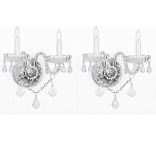 Great choice Bowerville Venetian 2-Light Candle Wall Light (Set of 2) By Rosdorf Park