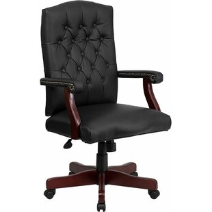 Darby Home Co Hickox Button Tufted Leather Executive Chair