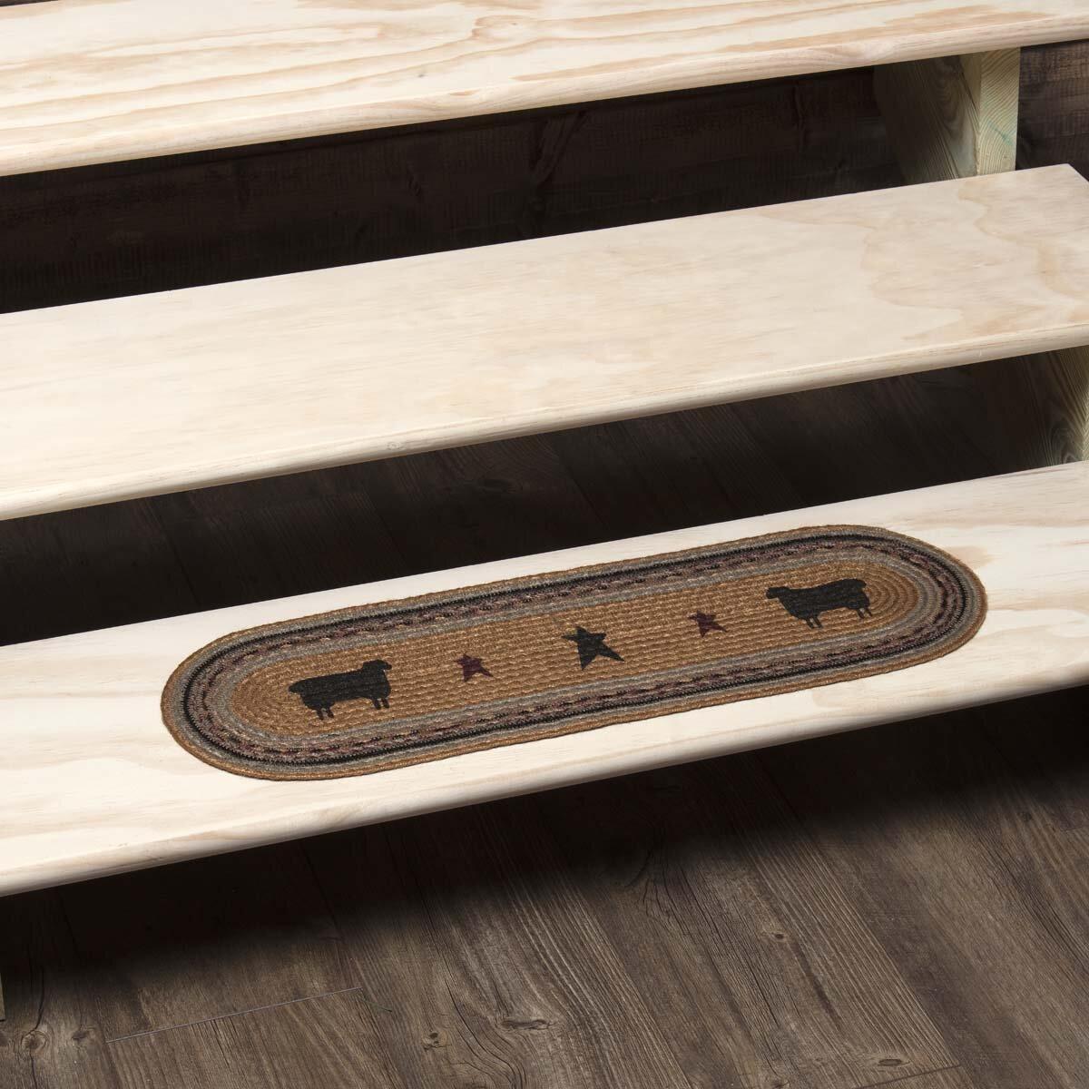 August Grove Flooring Sheep Oval Jute Almond Stair Tread Wayfair
