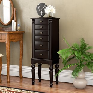 Astoria Grand Fontanes Black Petite Ebony Jewelry Armoire with Mirror