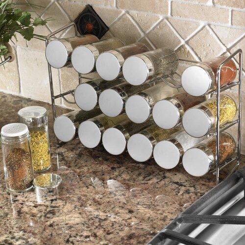 Freistehendes Gewürzregal mit 18 Gewürzdosen ClearAmbient | Küche und Esszimmer > Küchenregale > Gewürzregale | ClearAmbient