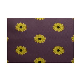Stiner Sunflower Frenzy Flower Print Purple Indoor/Outdoor Area Rug