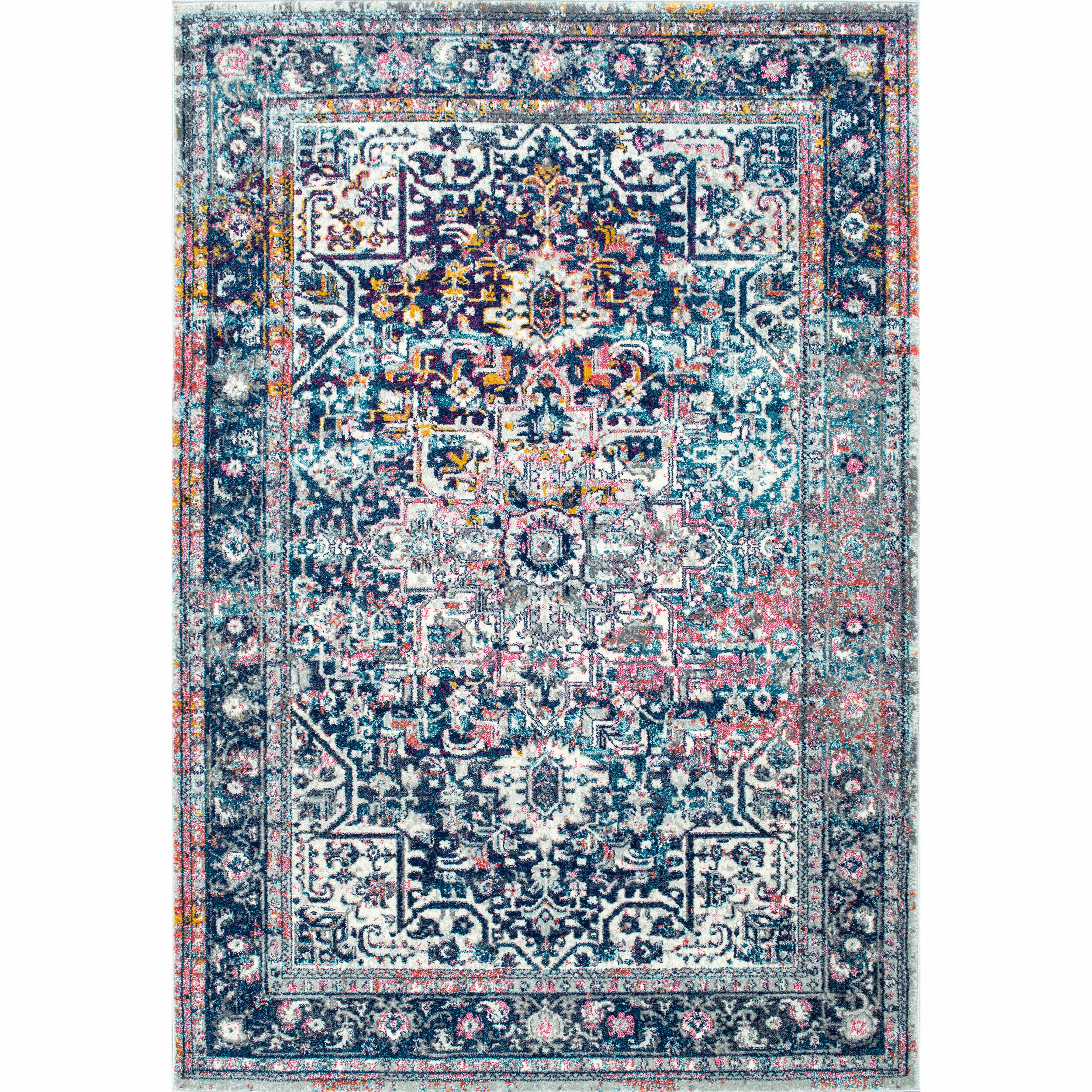 Wrought Studio Burciaga Blue Rug