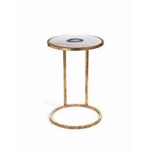 Aquarius 20-inch Tall Marble and Inlaid Agate End Table by Zodax