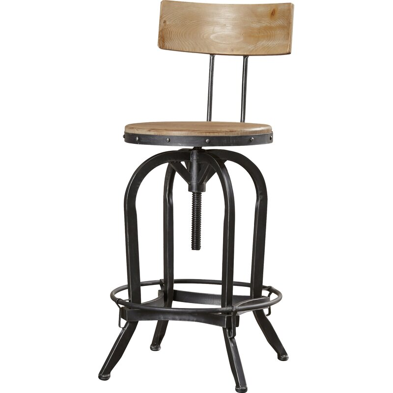 Oria Adjustable Height Swivel Bar Stool Amp Reviews Birch Lane