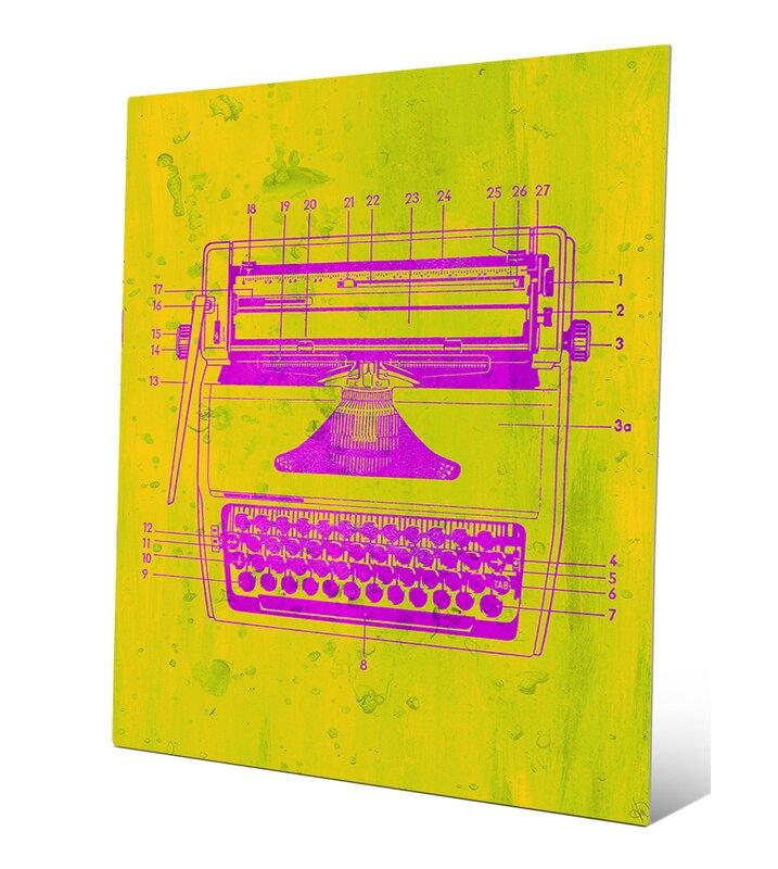 'Typewriter Schematic' Graphic Art Print on Metal in Pink/Yellow