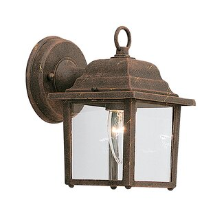 Slusser Traditional 1-Light Glass Shaded Outdoor Wall Lantern