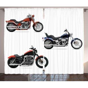 Donny Illustration Graphic Print & Text Semi-Sheer Rod Pocket Curtain Panels (Set of 2) by Latitude Run