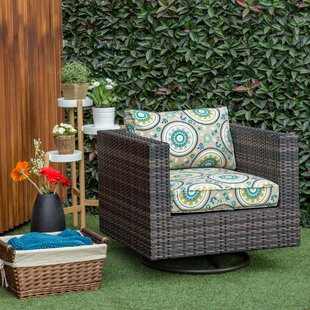 Mcnally Swivel Patio Chair With Cushion In , Round Flower by Alcott Hill