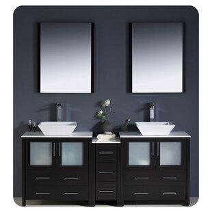 Torino 72 Double Bathroom Vanity with Mirror