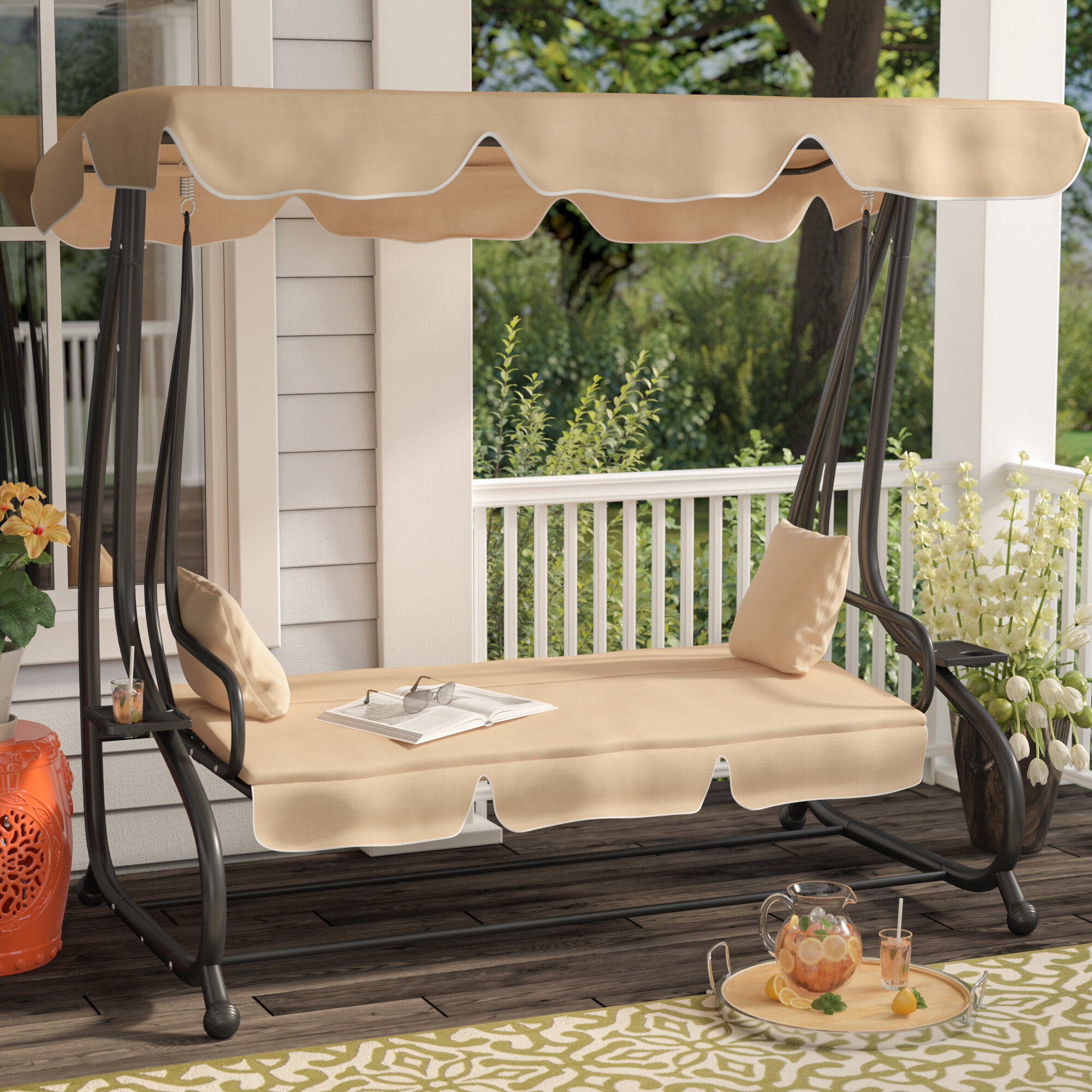 Marvelous Winston Porter Whitney Outdoor Covered Porch Swing With Stand U0026 Reviews |  Wayfair