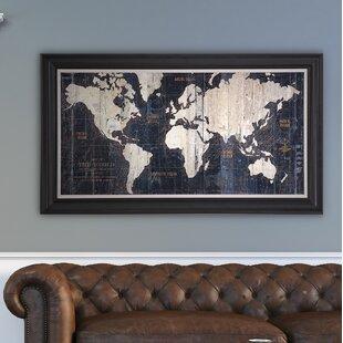 Maps Wall Art Birch Lane - Old world map wall art in blue