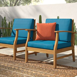 Shop For Drage Outdoor Wood Patio Chair with Cushions (Set of 2) Online
