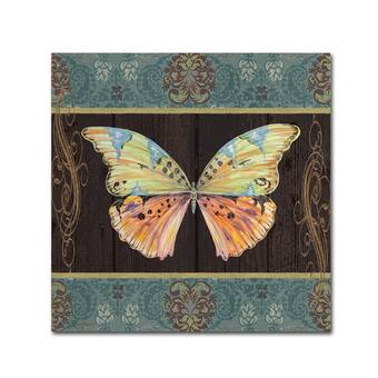 Ebern Designs Blue Butterfly On Black Graphic Art Print On Wrapped Canvas Reviews Wayfair