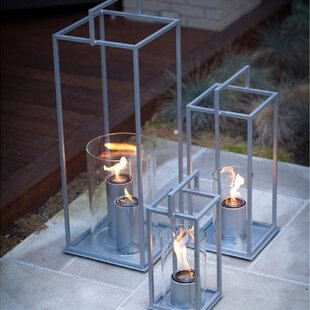 Hampton Steel and Tempered Glass Tabletop Lantern by Urban Designs