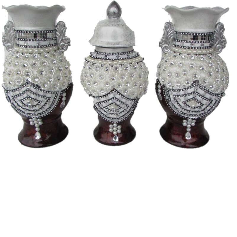 Bloomsbury Market Beads And Pearls Design 3 Piece Table Vase Set Wayfair