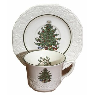 Original Christmas Tree Dickens Embossed Tea Cup and Saucer (Set of 4)
