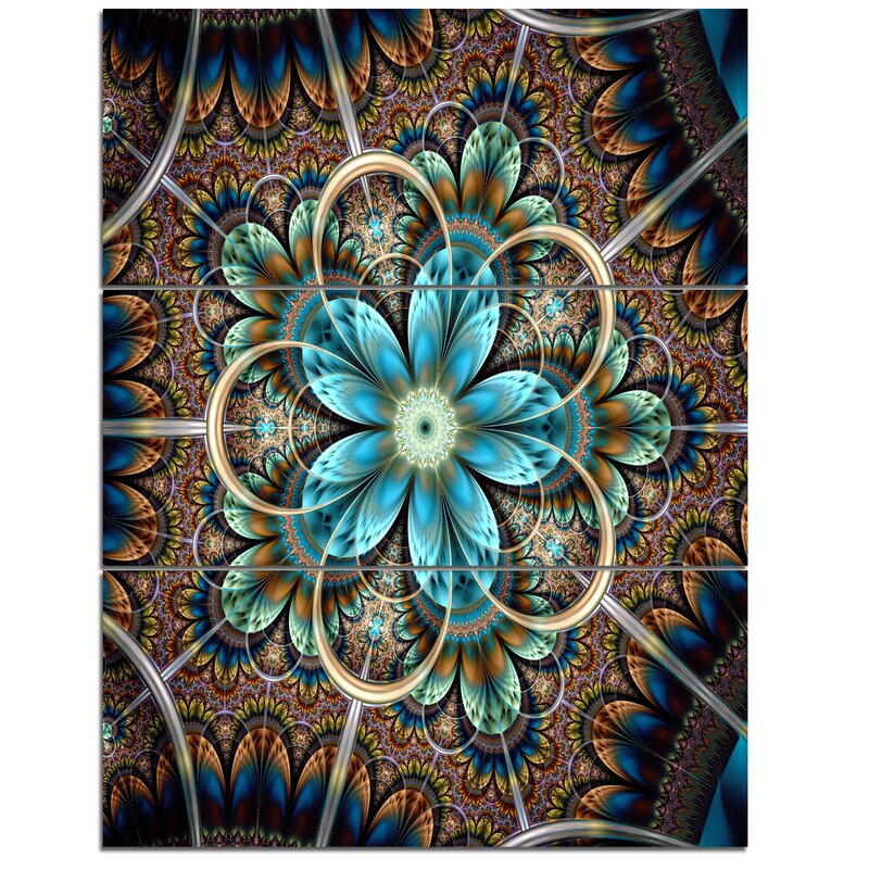 Designart Large Brown Blue Fractal Flower 3 Piece Graphic Art On Wrapped Canvas Set Wayfair
