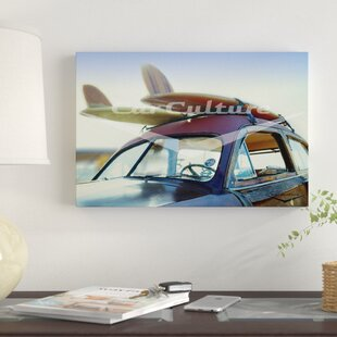 'Surf's up - Beach Boys' Ford DeLuxe Country Squire Woodie Wagon' Graphic Art Print on Canvas ByEast Urban Home