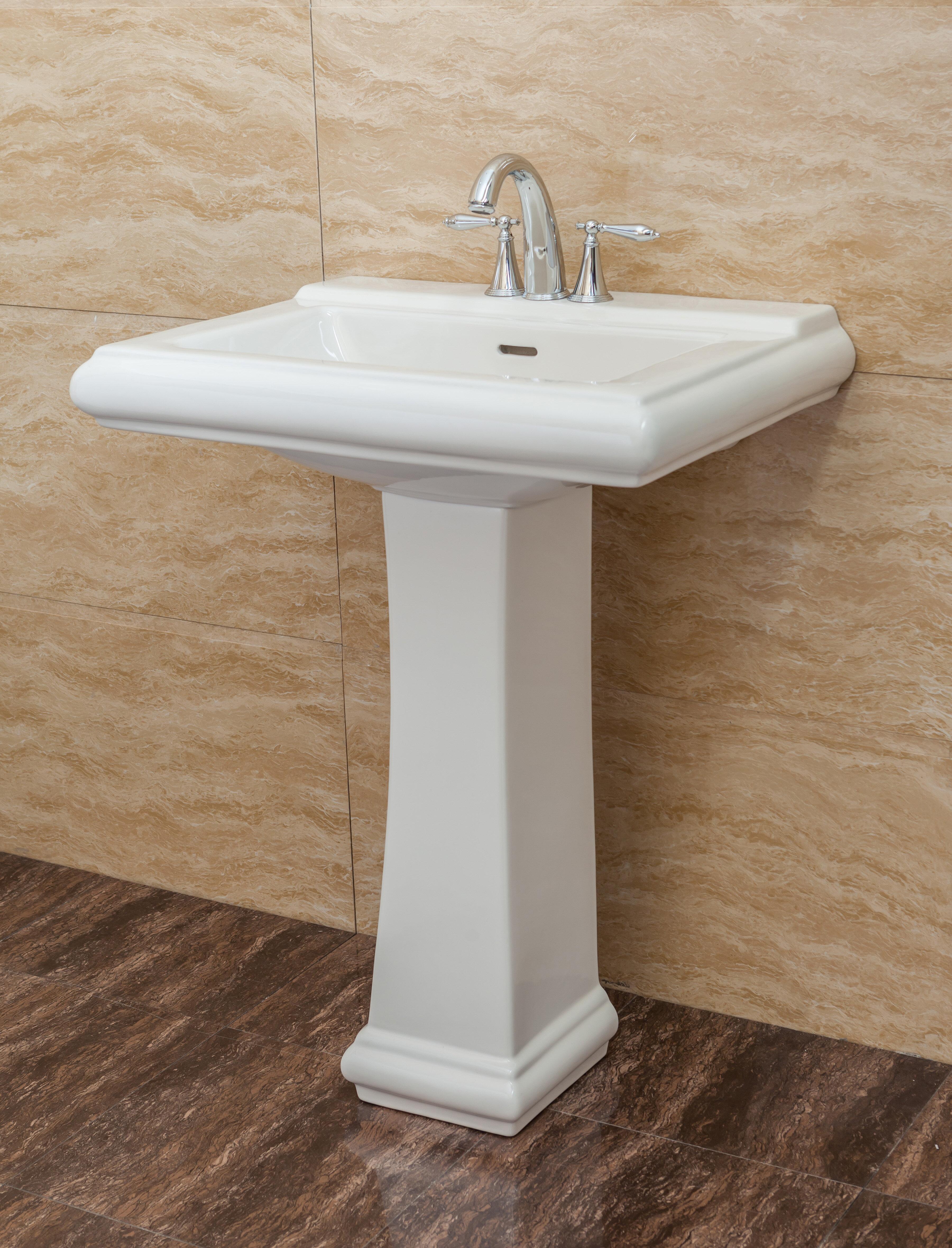 Fine Fixtures 26 5 Tall White Vitreous China Rectangular Pedestal Bathroom Sink Overflow Reviews Wayfair