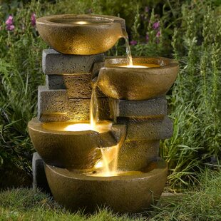 Resin Fibergl Zen Tiered Pots Fountain With Led Light