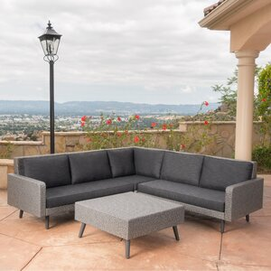 Harlesden 4 Piece Sectional Seating Group with Cushion