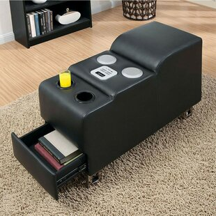 Rollox Black Bonded Leather Storage Ottoman