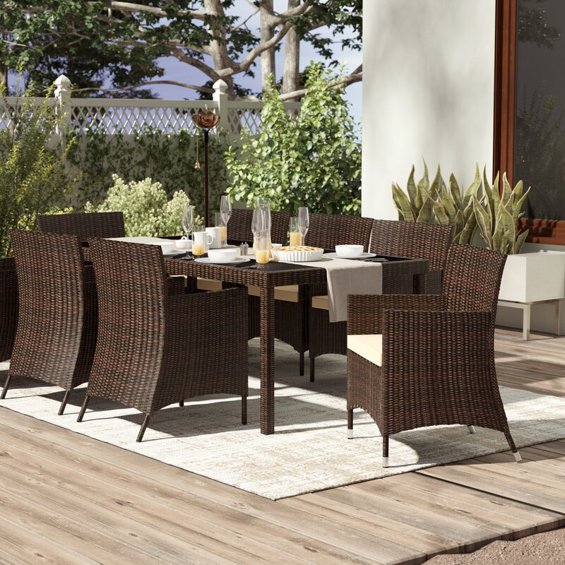 Kennerdell 9 Piece Patio Set With Cushions