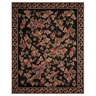 Arpdale Grapes Power Loom Acrylic Black Area Rug ByCharlton Home