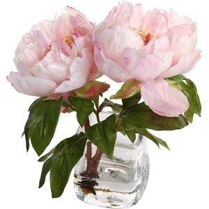 Faux Peony Floral Arrangement in Vase