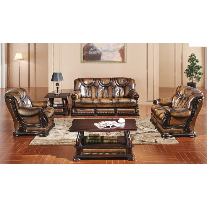 Renwick Distressed 3 Piece Leather Sleeper Living Room Set