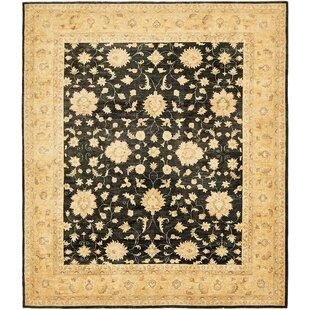 Best One-of-a-Kind Huntingdon Hand-Knotted 8'2 x 9'7 Wool Beige/Black Area Rug By Isabelline