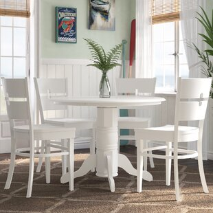 Langwater 5 Piece Pedestal Wood Dining Set by Beachcrest Home 2019 Coupon