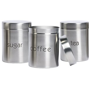 Stainless Steel 3 Piece Coffee Tea Sugar Set