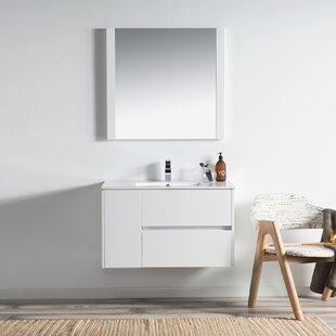 Inexpensive Oquendo 36 Wall-Mounted Single Bathroom Vanity Set with Mirror ByOrren Ellis
