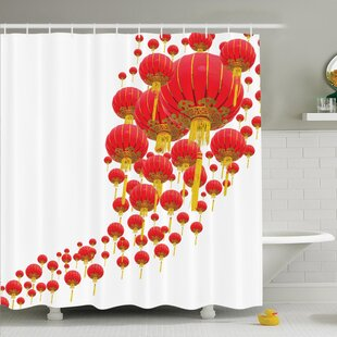 Cliff Chinese Lanterns in Sky Shower Curtain Set