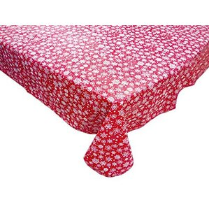 Snow Flake Round Vinyl Tablecloth With Polyester Flannel Backing