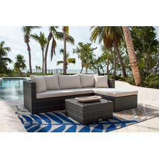 Saliba 3 Piece Rattan Sunbrella Sectional Seating Group with Cushions